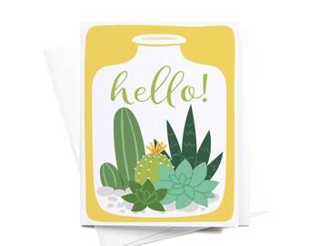 Greeting Card | Hello! | Succulent Terrarium