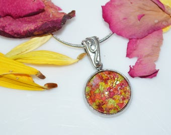 Funeral Flower Memorial necklace-Dried Flower Petal Pendant with flowers from your loved one's services-Custom Memorial Jewelry