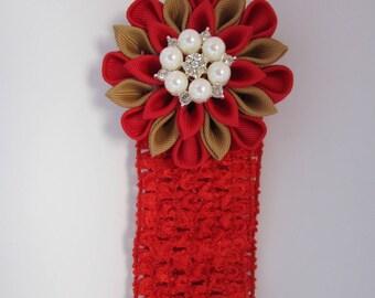 Red Kanzashi Flower   Chrochet Headband