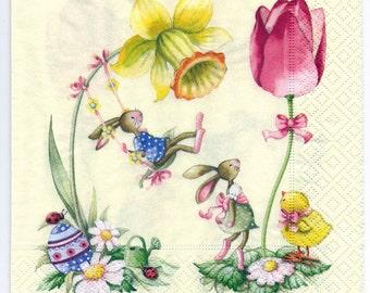4 Decoupage Napkins | Spring Garden Bunnies at Play | Easter Napkins | Bunny Napkins | Animal Napkins | Paper Napkins for Decoupage