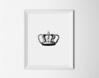 Crown Printable art, Black and White Vintage Illustration, Crown Wall art, Home decor, Minimalist Decor, King Queen Crown, Royal crown