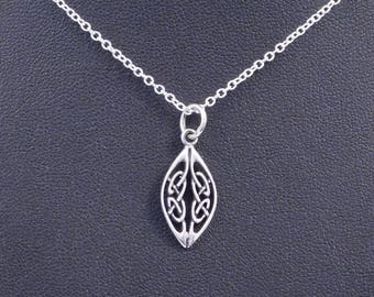 Sterling Silver Celtic Knotted Shield Necklace Pendant  with Chain