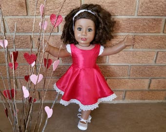 Valentine's Day Dress for American Girl Doll, 18 Inch Doll Clothes, Red Satin and Lace