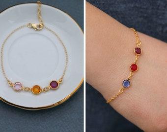 Gold Birthstone Bracelet Mother's Day Gift • Gold Bracelet Crystal Charm Bracelet Minimal Birthstone Simple •Mom Gift Mommy Bracelet Colored