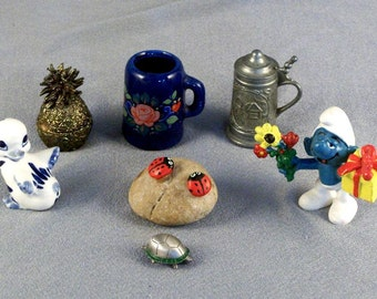 7 Miniature Treasures // Duck // Brass Pineapple // 2 Steins // Smurf // Ladybugs // Turtle // Dollhouse // Collectors Shelf // Give Away