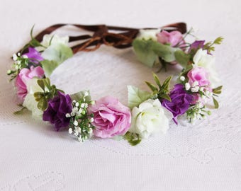 Garland of Snow White Roses and Purple Roses with Baby's Breath Flower Crown