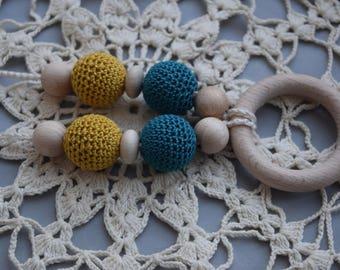 Crochet Nursing Necklace - Breastfeeding Necklace - Teething necklace with crochet beads cream-black-white-grey