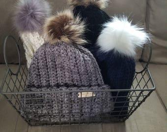 Cozy Winter Hat with Faux Fur Pom Pom