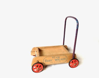Walker / TRi-ang toy / Super UK Vintage / Solid wood / Baby walker  / Danish / 1950's