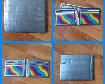 Silver and Rainbow Duct Tape Wallet