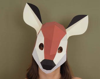 Fawn mask Printable pattern | Doe Patronus Head | Bambi costume | Woodland animals | Masquerade mask | Animal Mask | Low poly papercraft