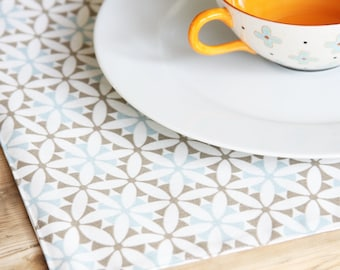 Cloth Placemats - Blue with Greyish Brown Design  - Set of 4 - Choose from two styles