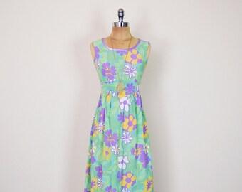 Vintage 70s Pastel Green Floral Dress Floral Print Dress Psychedelic Dress Op Art Print Maxi Dress 70s Dress Hippie Dress XS Extra Small