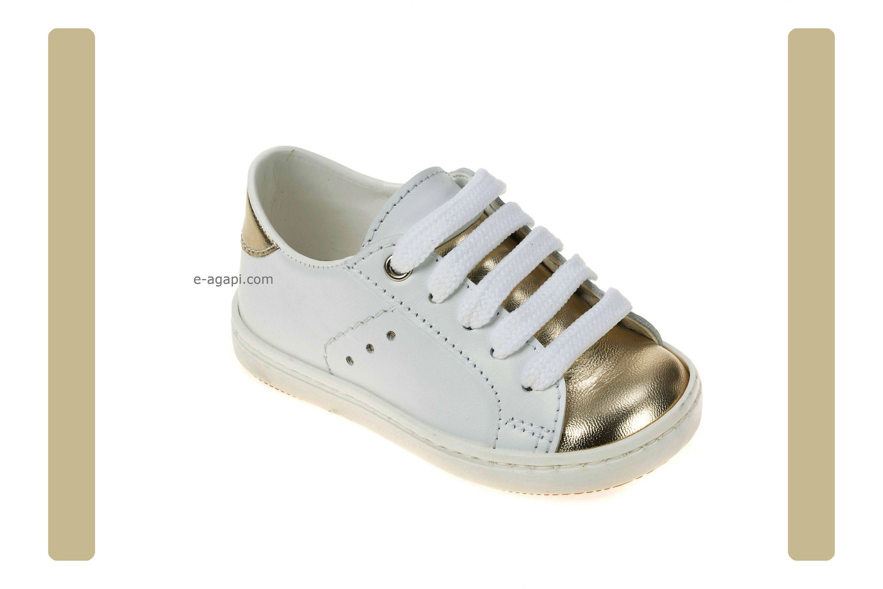 Leather baby boy first steps shoes Bebe sneakers White Gold