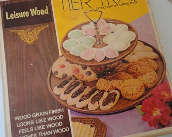 Vintage in Original Box Leisure Wood Tier Tray Thermo-Serv Company Unused Tier Trays for Rustic Wedding Walnut Color Tier Tray West Bend