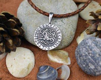 Futhark. Runic alphabet. Runes. Scandinavian Witchcraft. Wicca amulet. Futhark talisman. Viking Jewelry. Elder Futhark Gothic Necklace.
