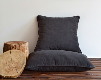 Dark brown pillow with piping - 20x20 throw pillow covers - indoor outdoor - garden decor cushion cover