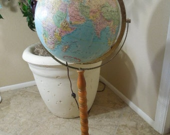 Lighted Globe on Floor Stand, Replogle 12 inch Raised Relief Globe