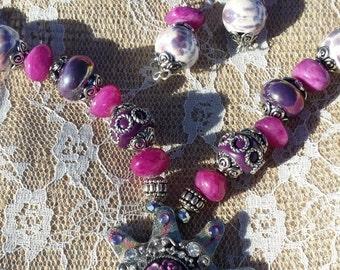 Spur Floral Cameo Necklace set