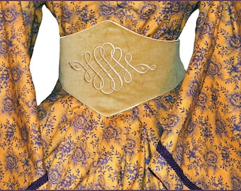 1800's Civil War Victorian Medici Embroidered Belt Tan Taffeta and Suede