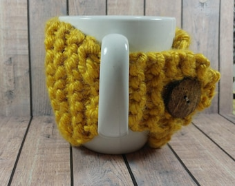 Yellow Mug Cozy- Yellow Coffee Cup Cozy- Knitted Coffee Cup Cozy