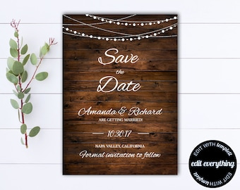 Country Save the Date Wedding Template - DIY Save the Date Card - Southern Save the Date Invite - Printable Save Date - Save Our Date