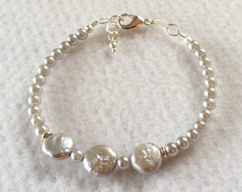 Silver gray pearl bracelet with Sterling silver