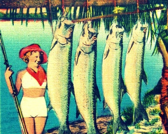 Retro Florida art, Florida home art, fishing gift for Dad, Fathers Day Fishing, Retro Florida print, Fishing pinup girl art vintage Florida