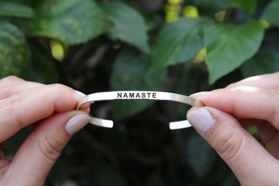 Namaste. Namaste cuff bracelet. Yoga Jewelry. Quote jewelry. Thin cuff bracelet.