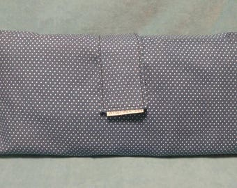 Diaper Wallet, in Navy Blue with White Polka-dots