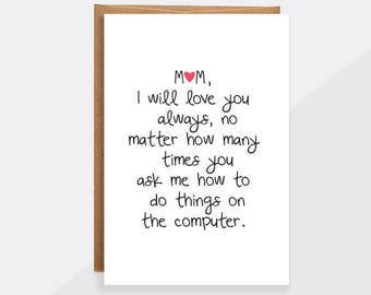 Thank you mom card mothers day card mom birthday funny mothers day card unique funny mom i will always love you love bookmarktalkfo Images
