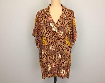 Hawaiian Shirt Luau Leopard Print Tropical African Print Animal Print Beach Vacation Womens Tops Size 3X Plus Size Clothing Womens Clothing