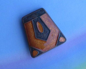 Vintage 1910s Arts and Crafts Copper Enamel Pin