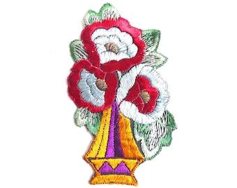 Flower applique, 1930s vintage embroidered applique. Vintage floral patch, sewing supply. #64AGF7K10