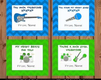 Rock Star Valentines, Music Valentine's Day Cards, Guitar Valentines, Boy Valentines, Classroom Valentines, Kids Valentines Day Card