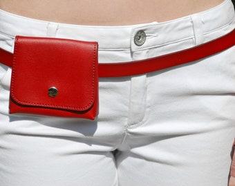 Red Small Belt Bag, Waist Bag for Women, Cute Hip Bag, Belt Bag for Women, Small Waist Bag, Leather Hip Bag, Small Cute Waist Bag Leather