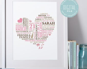 21st birthday gift for her friend gift personalised gifts personalised 21st birthday gift printable personalized for 21st birthday gift for her gift bookmarktalkfo Choice Image