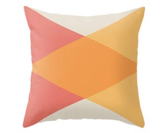 Mid Century Pillow, Vintage Cushion, Nordic Room, Retro Decor, Triangles Throw Pillows, Minimal Geometry Design, Zipper Covers, Yellow, Red
