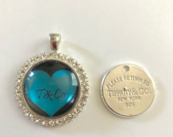 TIFFANY Charms - Lot of 2 - Pendant Turquoise with rhinestones, Silvertone - T & Co charm