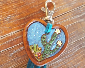 Saguaro Cactus Purse Charm - Hand Tooled Leather - Hand Painted - Heart - Stars -Southwestern - Backpack - Luggage Tag - Turquoise Fringe