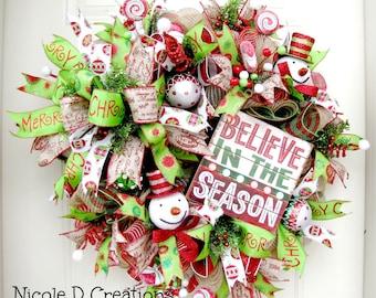 Christmas Wreath- Burlap Wreath- Holiday Wreath- Deco Mesh Wreath- Front Door Wreath