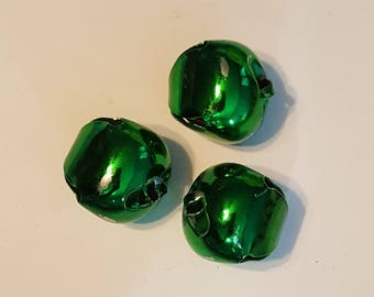 Distash-40mm Christmas Jingle Bells - Large - 3pc - Metal - Green colored