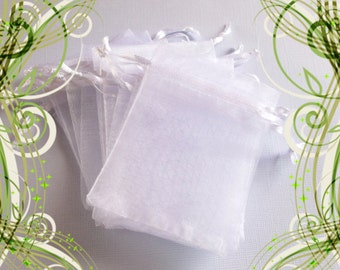 100 Organza Bags ( 2.5 x 3 in ) .. White Organza Bags,  Small Organza Bags, Organza Gift & Favor Bags, Drawstring Bags, Drawstring Pouch