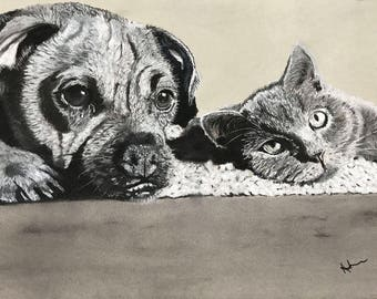 Best Buddies - Limited Edition 16 x 12 Print by UK artist Angela Heiron - mounted on board