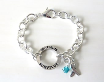 Survivor Teal Crystal Charm Bracelet Ovarian Cancer Tourettes Syndrome Ocd Anxiety Awareness Ptsd