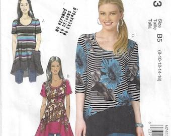 Knit Pullover Top Tunic Asymmetrical Shaped Hemline Short/Long Sleeves McCalls 7413 Nancy Zeiman Sizes 8-10-12-14-16 Spanish Instructions