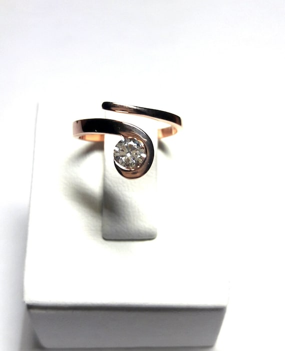 Solitaire RingTwist Solitaire RingRose Gold RingSilver