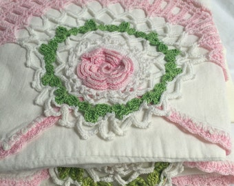 Vintage Crocheted Lace Pillowcase Pair