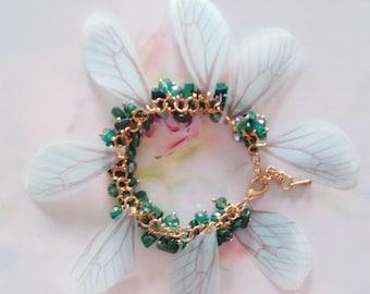 bracelet golden fairy wings green