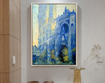 Monet Church,canvas Oil painting,Hand painted famous church,reproduction of Monet painting, Wall Pictures for Living room home decor art